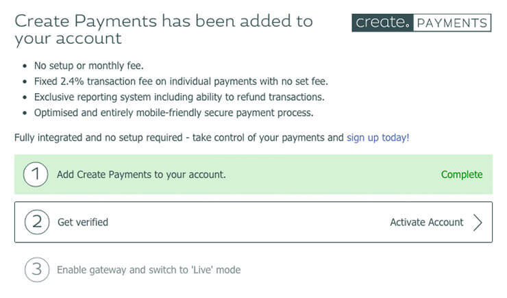 Setup screen for Create payments